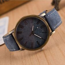 Men  Multicolor Cloth Leather Fashion Watch Wrist Band Cowboy Canvas Strap
