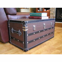 Decorative Sterling Medium Wood Trunk Wooden Treasure Hope Chest Accent Storage