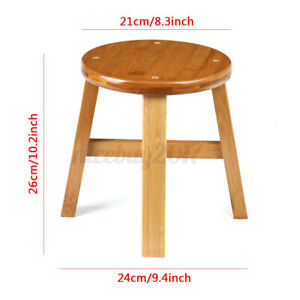 Small Wooden Stool Round  Bench Retro Rustic Seat Footstool for Children Adults