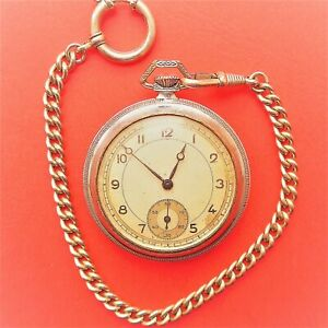 Solid, Handy Men's Pocket Watch, Stiftankerhemmung, Good Function, Approx. 1955