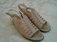 "David Tate ARS16-302 Tan Womens 1.5"" Heel Leather Sandals 7.5 N Slingback Shoes"