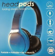 Headpods Folding iPhone Friendly Noise Cancelling Stereo Headphones In Blue