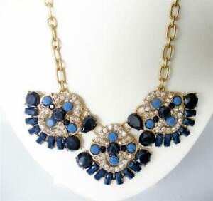 J CREW NAVY BLUE CRYSTAL GOLD PENDANT TRIO STATEMENT NECKLACE NWT + POUCH