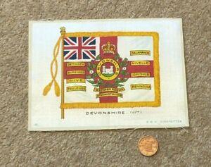 Antique Silk BDV Cigarettes Cigarette Card Military Devonshire 11th Flag