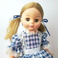 "Vintage HORSMAN Doll 70s Sleep Eye 15"" Strawberry Blonde Baby Girl Blue Gingham"
