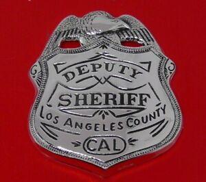 Solid Sterling Silver Franklin 1987 Police Badge Deputy Los Angeles Sheriff 24g