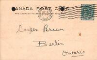 Canada Postal Stationary Cover  Berlin Ontario Postmark- Canada Foundry Co. 1903