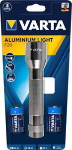 Varta Taschenlampe LED Aluminium Light F20 inkl. 2x C Batterien 16628