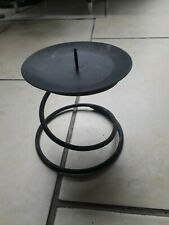 "Wrought black iron candle holder used appx 4.5"" x 5"" light with spike for candle"