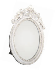 Antique Style Ornate Oval Freestanding Dressing Table Mirror White And Gold Fram