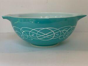 Vintage PYREX Turquoise Scroll Print #443 Cinderella Mixing Bowl 2 1/2 Quart