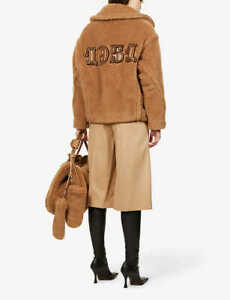 MAX MARA 1951 Ozio wool and silk teddy coat, 2021 runway style, size IT 36