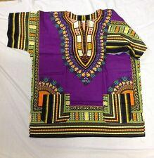 DASHIKI AFRICAN SHIRT DRESS MEN WOMEN HIPPIE STYLE CAFTAN UNISEX TRIBAL VIOLET