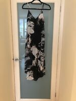 NWOT Aryn k Black Silk Watercolor Boho Maxi Dress - Size S
