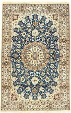 """PERSIAN NAIN Hand Knotted Wool Silk Blue/IVORY Fine Oriental Rug 5'9"""" X 3���6"""""""