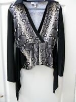 Joseph Ribkoff Animal Print Stretch Top UK Size 12 US 10 Smart Black White