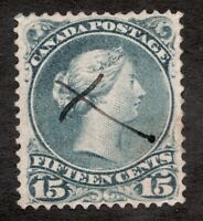 #30b blue grey ? - Canada - 1868 -  15 Cent - Used  - superfleas