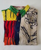 Vintage 90s Jams World Abstract And Floral Print Long Sleeve Shirt Size Large
