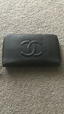 Authentic Chanel Black Caviar Leather Zip Up Wallet