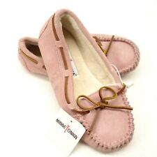 New Minnetonka Womens Pink Jackie Faux Fur Lined Moc Slipper Boho US 5