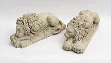 CONCRETE Strong LION Statue Figure Cement  HOME Garden Decor SET OF 2 NEOCLASSIC