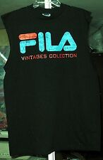 FILA ORIGINAL VINTAGES COLLECTION MENS SLEEVELESS BLACK T-SHIRTS NEW  LG
