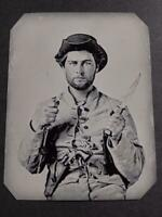 Sixth-Plate Civil War Soldier Tintype C2300RP Series
