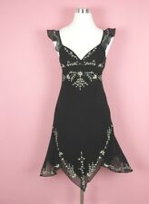 BCBG Max Azria Black Embroidered Floral Dress Beaded 100% Silk Women's Size 4 ��