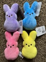 """PEEPS Lot Of 4 Easter 6"""" Bunny Bean Plush Lavender Pink Yellow Blue NEW 2021"""