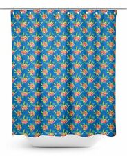S4Sassy Blue Plumeria & Floral Water Repellent Bath Shower Curtain-IEY