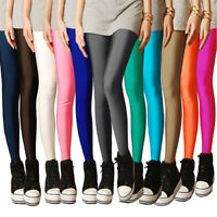 Neu Mode Damen Hose Lycaspandex Leggings lang Neon Süßigkeit Shiny Disco Ne Z2Z5