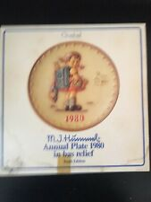 Vintage M.J.Hummel Annual Plate,1980 in Bas Relief,By Goebel,Original Box,Papers