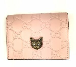 Gucci #548057 GG Pink Leather Angry Cat Wallet, NWT