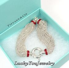 Tiffany Co Sterling Silver Red Enamel Multi Strand Lifesaver Mesh Bracelet Italy