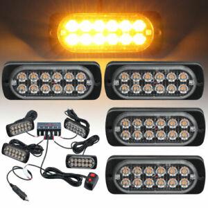 4x 12LED Car vehicle Strobe Flash Light Emergency Warning Flashing Lamp Amber