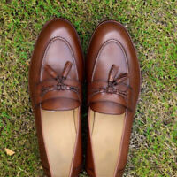 Handmade Tasseled Men Loafers Brown Casual Formal Party Calf Leather Shoes