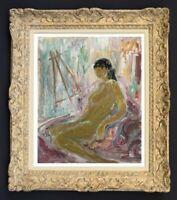 RAYA SAFIR (1909-2004) PEINTURE FAUVISTE FEMME NUE DANS L'ATELIER 1950 (26)