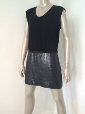 NWT BCBG Max Azria $248 Size 8 Black Sequined Skirt Cotton Tee Dress Slimming