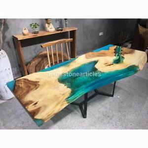 Green Resin Luxury Epoxy Dining Corridor Wood Table Top Handmade Outdoor Décor