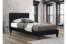 Birlea Berlin Black Faux Leather Bed Single 3FT 90CM Frame Upholstered