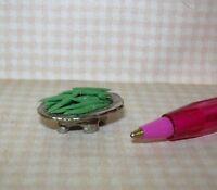 Miniature Karen Aird Footed Silver Platter of Green Beans : DOLLHOUSE 1/12 Scale