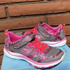 Skechers Girls 5 is Womens size 6.5 Bright Racer Sneakers Shoes Gray & Pink NEW