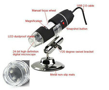 50X-500X 2.0 MP LED Lighted USB Digital Microscope Magnifying Glass w/ Stand
