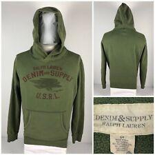 Ralph Lauren Denim Supply Mens Small Hoodie Green Faded Vintage Look Sweatshirt