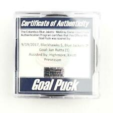 2017-18 Jan Rutta Chicago Blackhawks Game-Used Goal-Scored Puck -Knott Assist