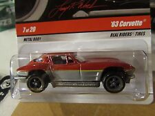 Hot Wheels Larry's Garage Real Riders Tires '63 Corvette Red / Silver