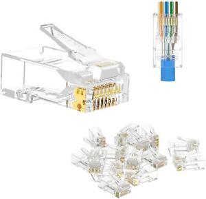 PACE RJ45 CAT5 CAT5e Pass Through Connector Ethernet Modular Plug Gold Plated