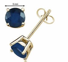 14k Yellow Gold 5MM Round Shape Sapphire Earrings
