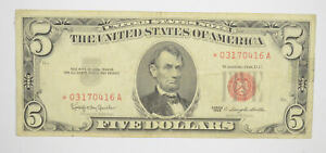 *Star* 1963 Red Seal $5 United States Note - ERROR Replacement *224