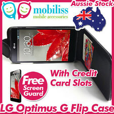 LG Optimus G E975 PU Leather Flip Pouch Case Credit Card Slots Screen Protector